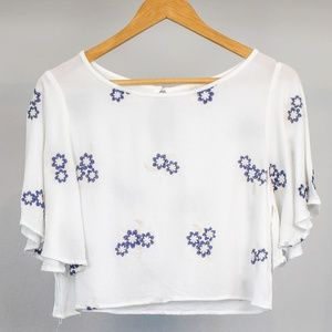 Caution to the Wind Cropped Top with Flowy Sleeves